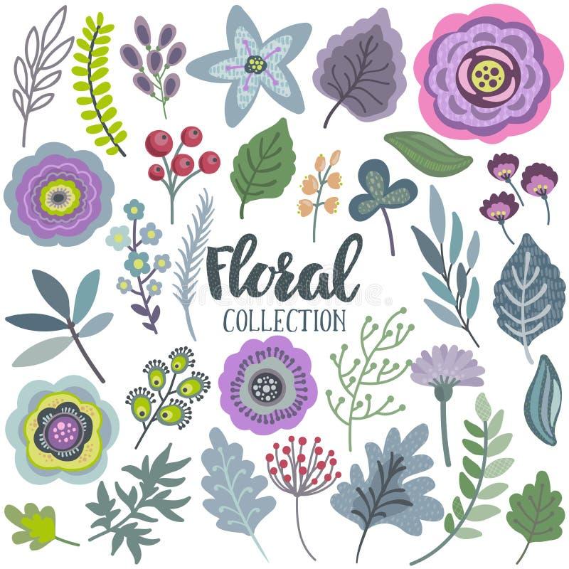 Uppsättning för vektordiagram med härliga blommor, sidor, filialer, bär stock illustrationer