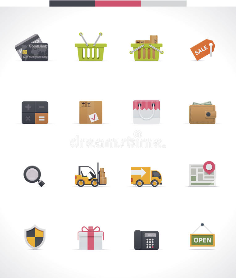 Uppsättning för vektore-kommers symbol stock illustrationer