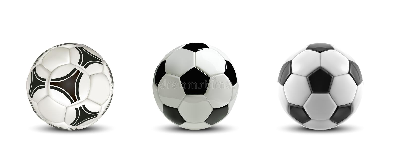 Uppsättning för vektorfotbollboll Fotbollbollar eller fotboll för träd klumpa ihop sig realistiska på vit bakgrund vektor illustrationer