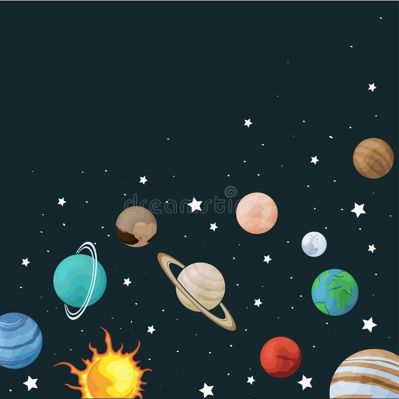 Uppsättning för vektorgemkonst av det fyrkantiga banret för solsystem med planeten på textur för utrymmebakgrundsuniversum för hä stock illustrationer