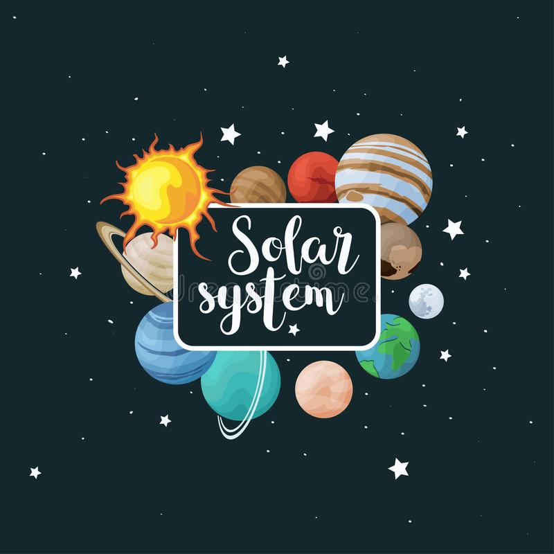 Uppsättning för vektorgemkonst av solsystemet Ungeaffisch med planeten på utrymmebakgrund Universumtextur för hälsningkort, inbju royaltyfri illustrationer