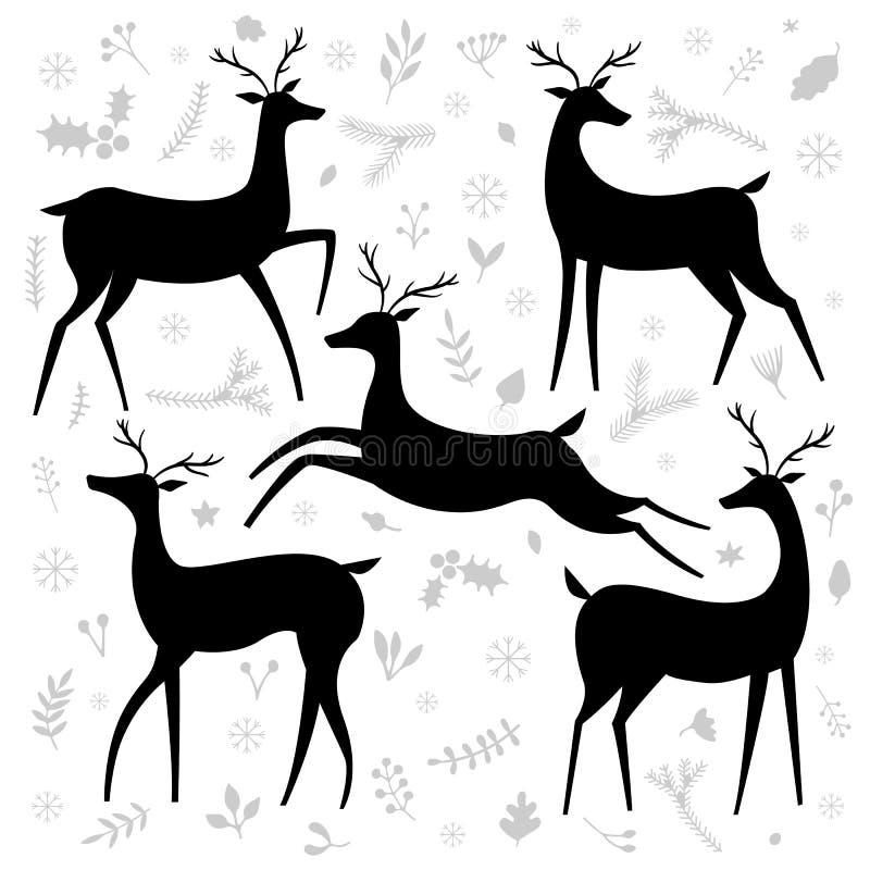 Uppsättning för vektorhjortkontur stock illustrationer