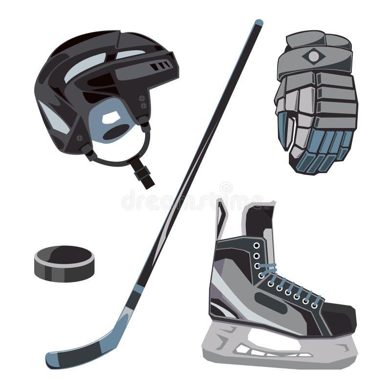 Uppsättning för vektorhockeysymboler i plan stil Isutrustningsamling, puck, pinne etc. Sportkugghjulbilder för klubbor etc. vektor illustrationer