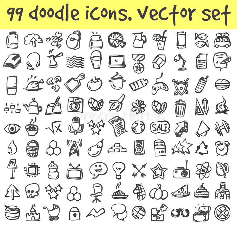 Uppsättning för vektorklottersymboler vektor illustrationer