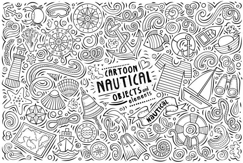 Uppsättning för vektorklottertecknad film av nautiska objekt stock illustrationer