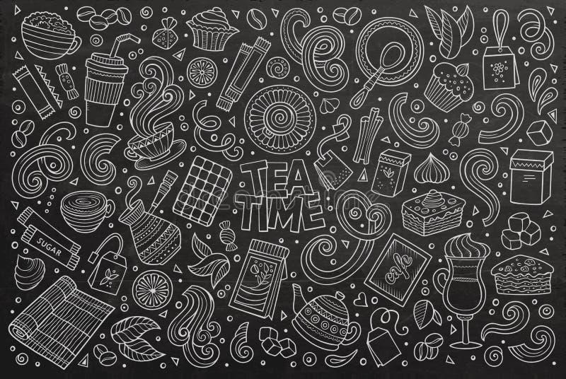 Uppsättning för vektorklottertecknad film av te och coffe vektor illustrationer