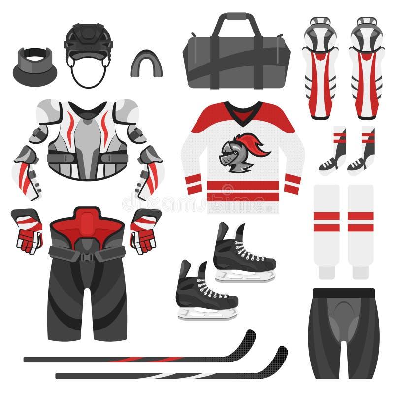 Uppsättning för vektorlägenhetstil av hockeyutrustning royaltyfri illustrationer