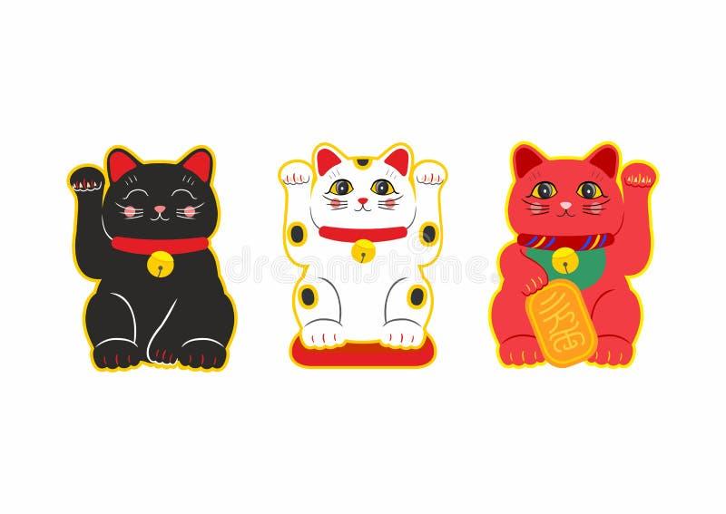 Uppsättning för vektorlägenhetstil av japan Lucky Cat Maneki Neko Symbol för rengöringsduk bakgrund isolerad white royaltyfri illustrationer