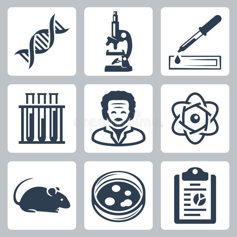 Uppsättning för vektorlaboratoriumsymboler stock illustrationer