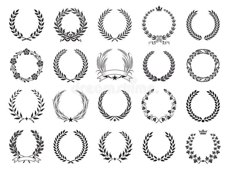 Uppsättning för vektorlagerkrans royaltyfri illustrationer