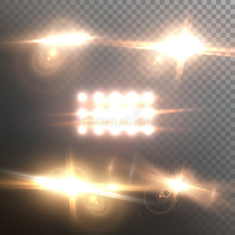 Uppsättning för vektorLens signalljus Realistisk effekt för vektorsignalljusglöd royaltyfri illustrationer