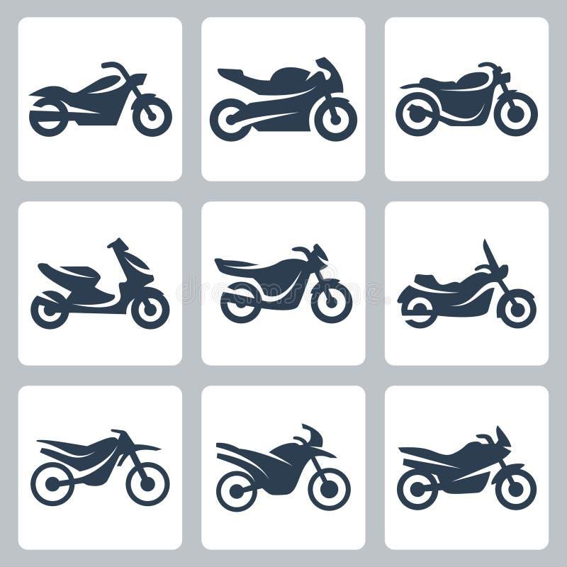 Uppsättning för vektormotorcykelsymboler royaltyfri illustrationer