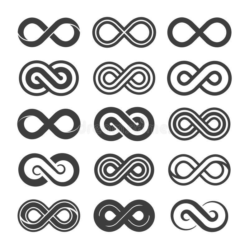 Uppsättning för vektoroändlighetssymbol som isoleras på vit bakgrund stock illustrationer