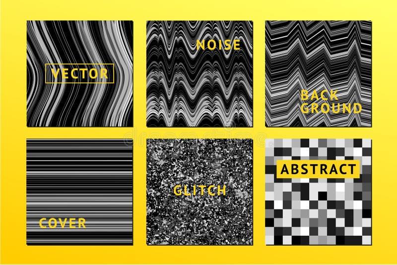 Uppsättning för vektoroväsenaffischer med oväsenbakgrund Electro inbjudan för musikfestival, tekniskt feltextur Moderiktiga räkni vektor illustrationer
