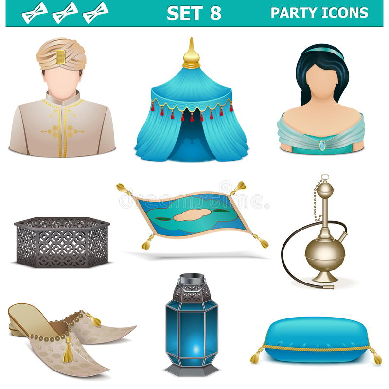 Uppsättning 8 för vektorpartisymboler royaltyfri illustrationer