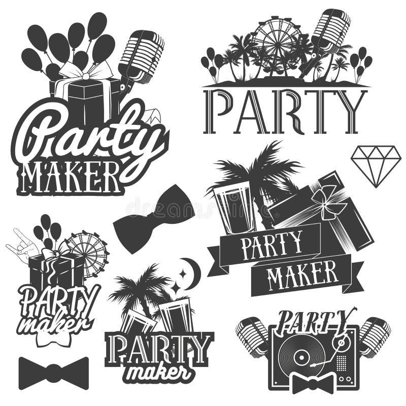 Uppsättning för vektorpartitillverkare av emblem, emblem, klistermärkear eller baner Designbeståndsdelar i miami tappningstil iso royaltyfri illustrationer