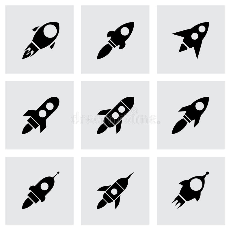 Uppsättning för vektorraketsymbol vektor illustrationer