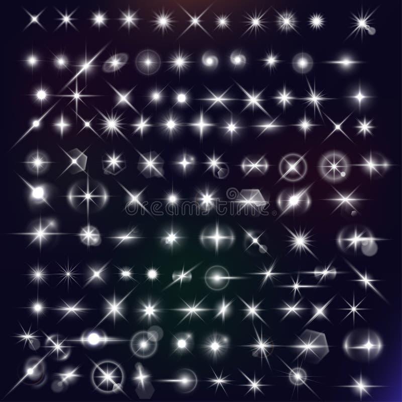 Uppsättning för vektorstjärnaeffekter stock illustrationer