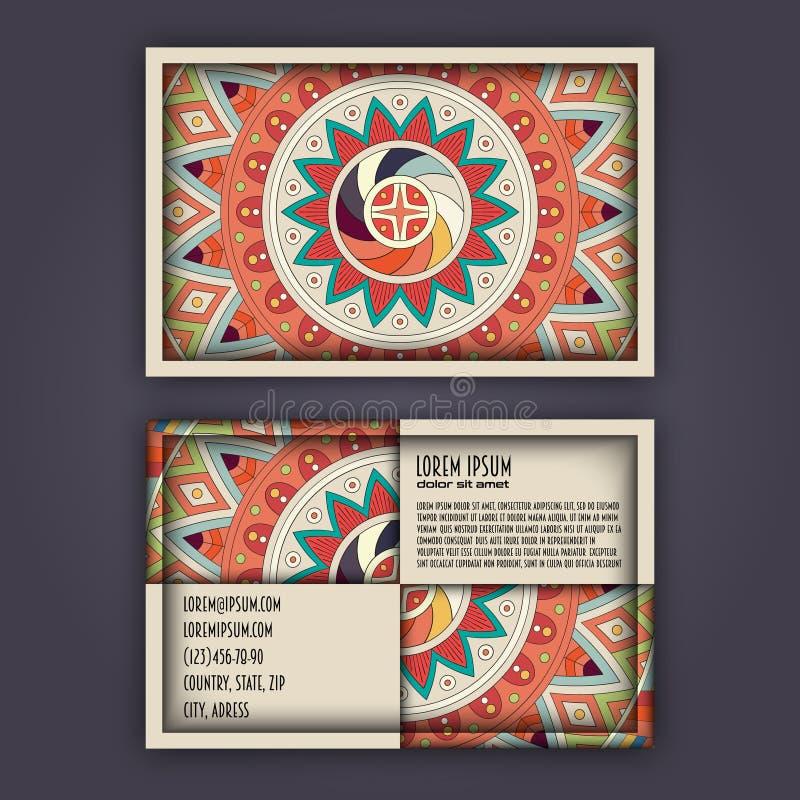 Uppsättning för vektortappningvisitkort Blom- mandalamodell och orange royaltyfri illustrationer