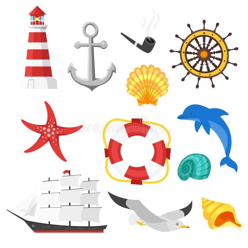 Uppsättning för vektortecknad filmstil av havsobjekt Symbol för rengöringsduk stock illustrationer