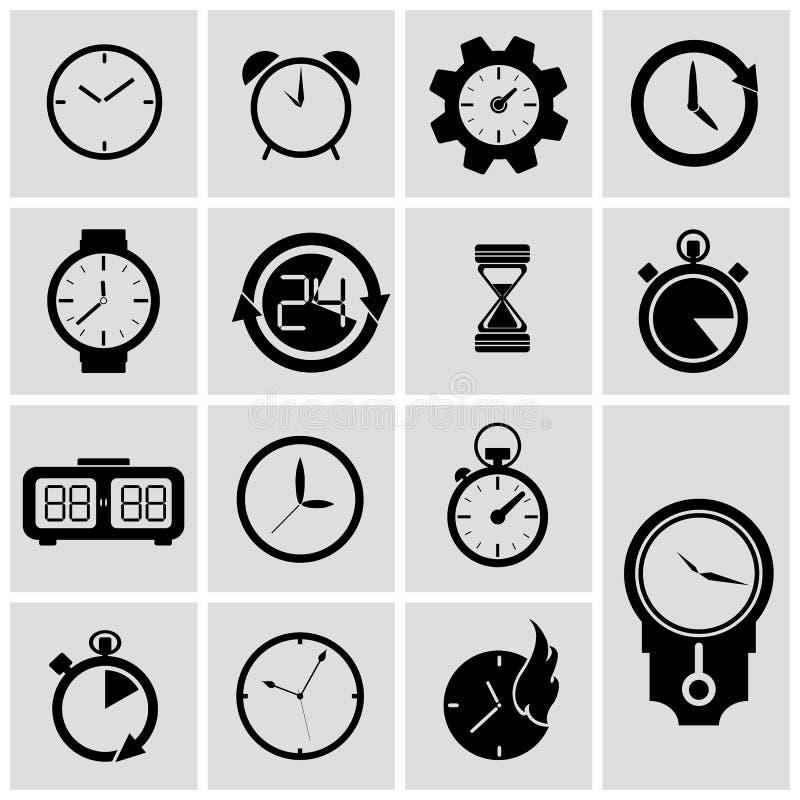 Uppsättning för vektortidmätaresymboler royaltyfri illustrationer