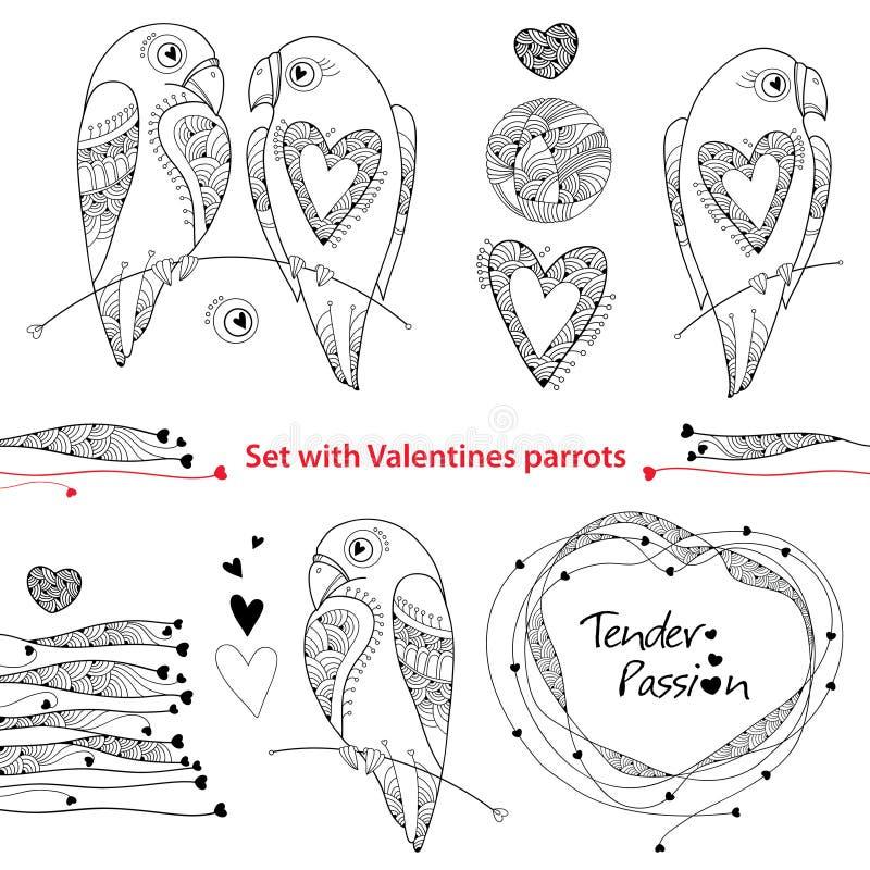 Uppsättning för vektorvalentindag i konturstil Skissera par av förälskade papegojor, utsmyckade hjärtor och ramen som isoleras på vektor illustrationer