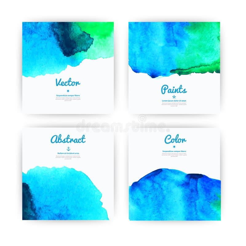 Uppsättning för vektorvattenfärgbakgrund för texturer och bakgrunder Sammansättning för scrapbooking Uppsättning av färgrikt vatt royaltyfri illustrationer