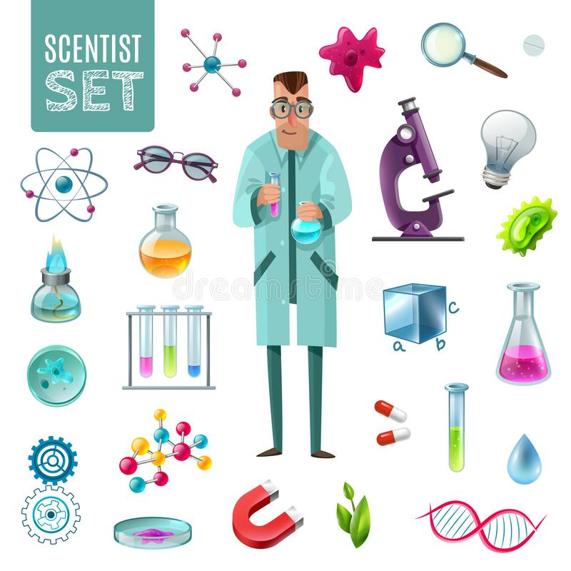 Uppsättning för vetenskapssymbolstecknad film vektor illustrationer