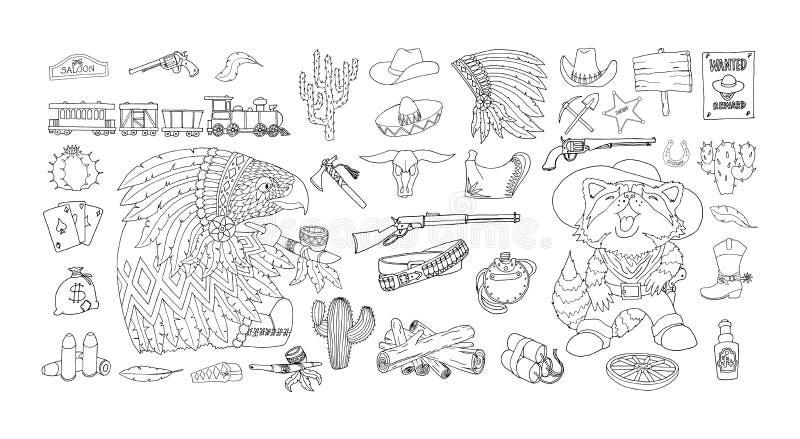 Uppsättning för vilda västernbeståndsdelsymboler Färgpulver- och pennteckning Tillskrivar den amerikanska gränsen stock illustrationer
