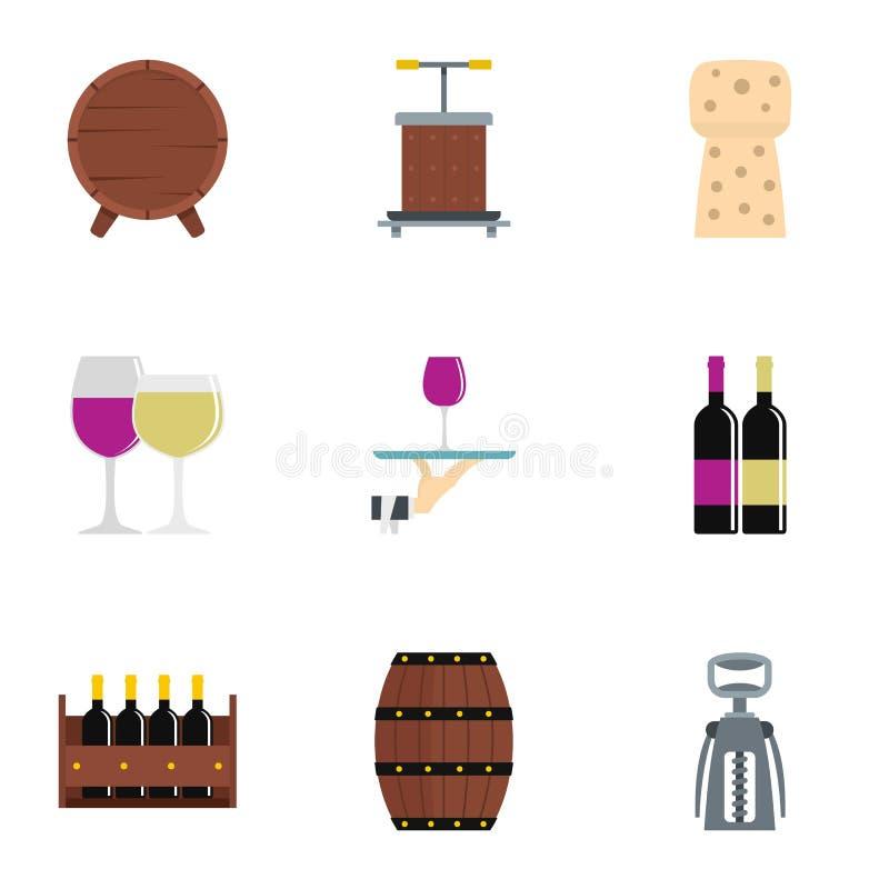 Uppsättning för vinföretagssymbol, lägenhetstil stock illustrationer