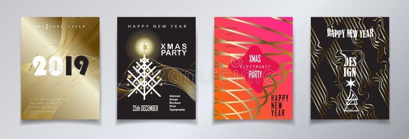 Uppsättning för 2019 för vinterferie för lyckligt nytt år för jul för händelse KORT för lyxig garnering guld- vektor illustrationer