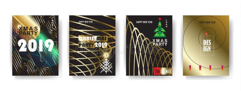 Uppsättning för 2019 för vinterferie för lyckligt nytt år för jul för händelse KORT för lyxig garnering guld- royaltyfri illustrationer