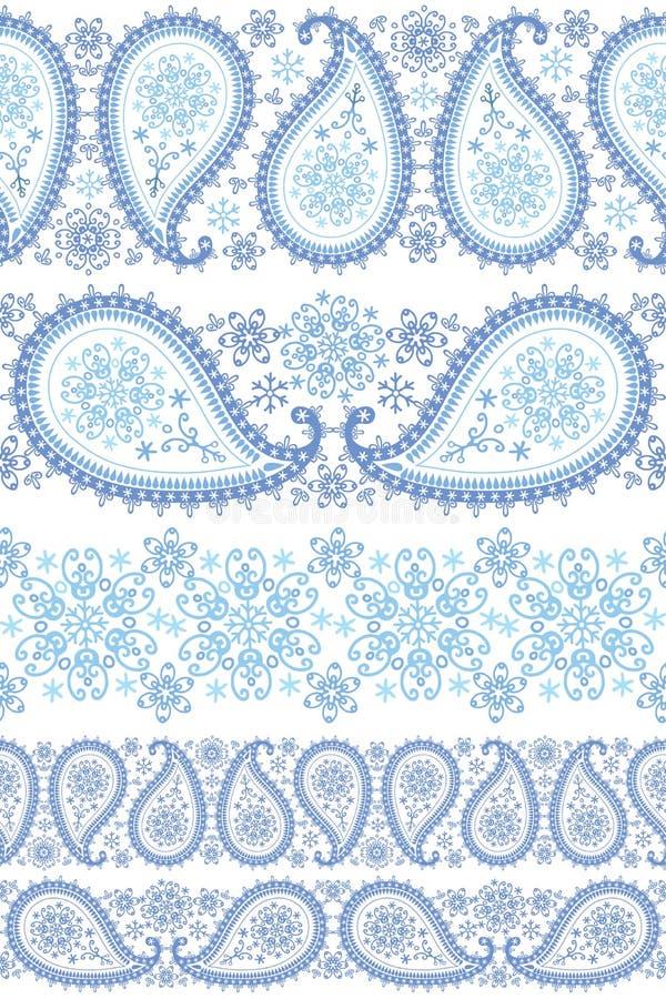 Uppsättning för vinterPaisley sömlös gräns vektor illustrationer