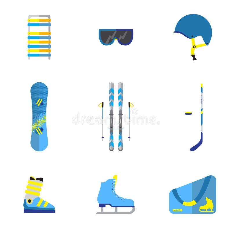 Uppsättning för vintersportutrustning: royaltyfri illustrationer
