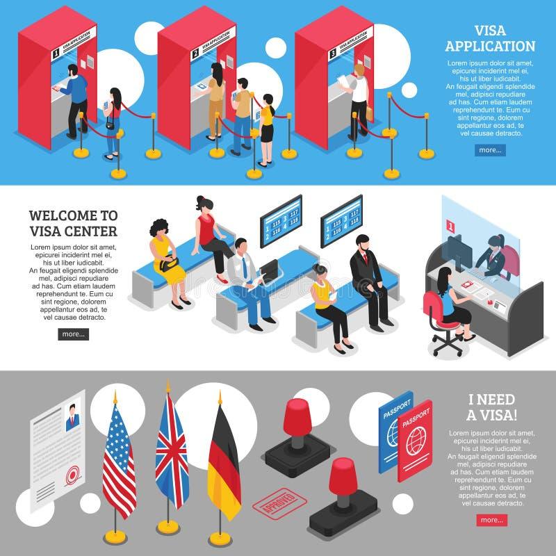 Uppsättning för visummittbaner royaltyfri illustrationer