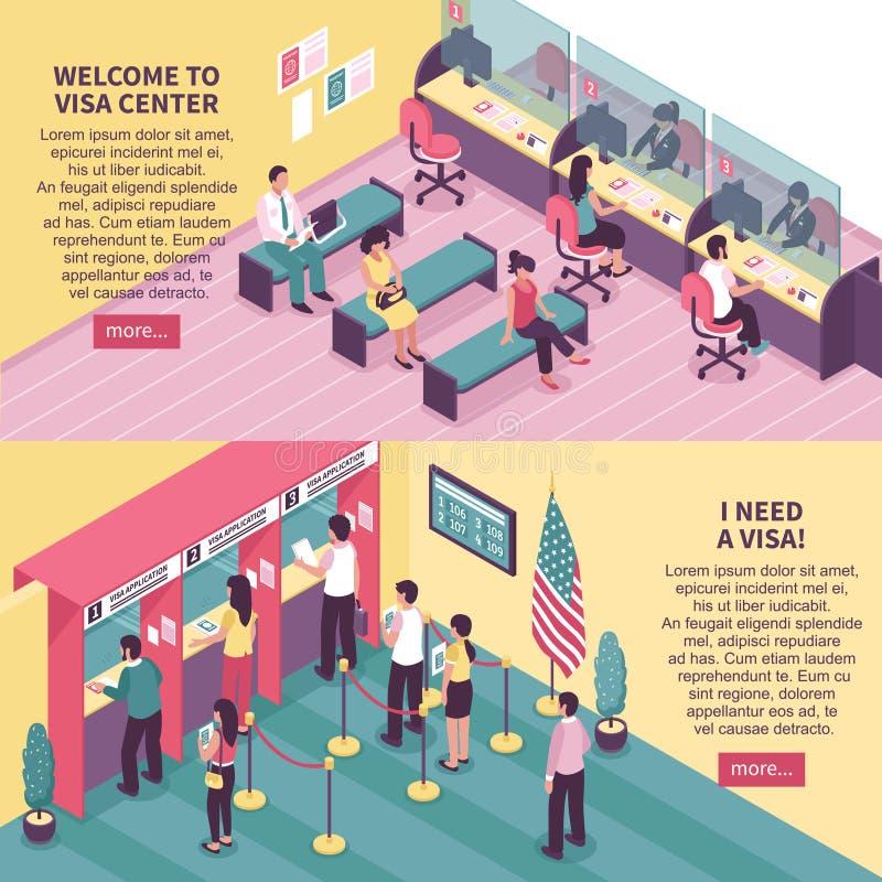 Uppsättning för visummitthorisontalbaner royaltyfri illustrationer