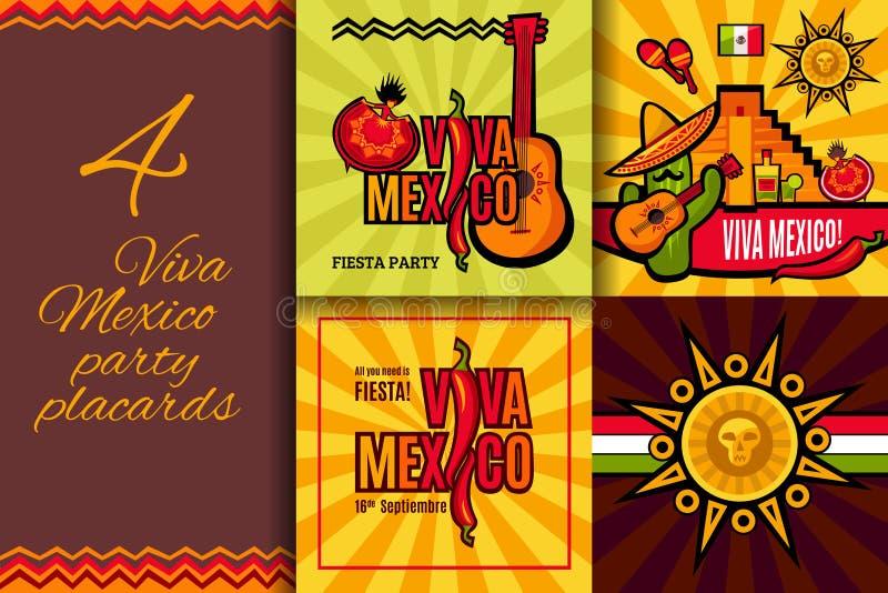Uppsättning för Viva Mexico partiplakat royaltyfri illustrationer