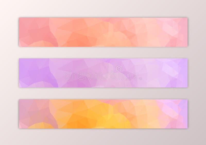 Uppsättning för Websitebanermall med abstrakt triangelpolygonbakgrund i rosa yelow stock illustrationer