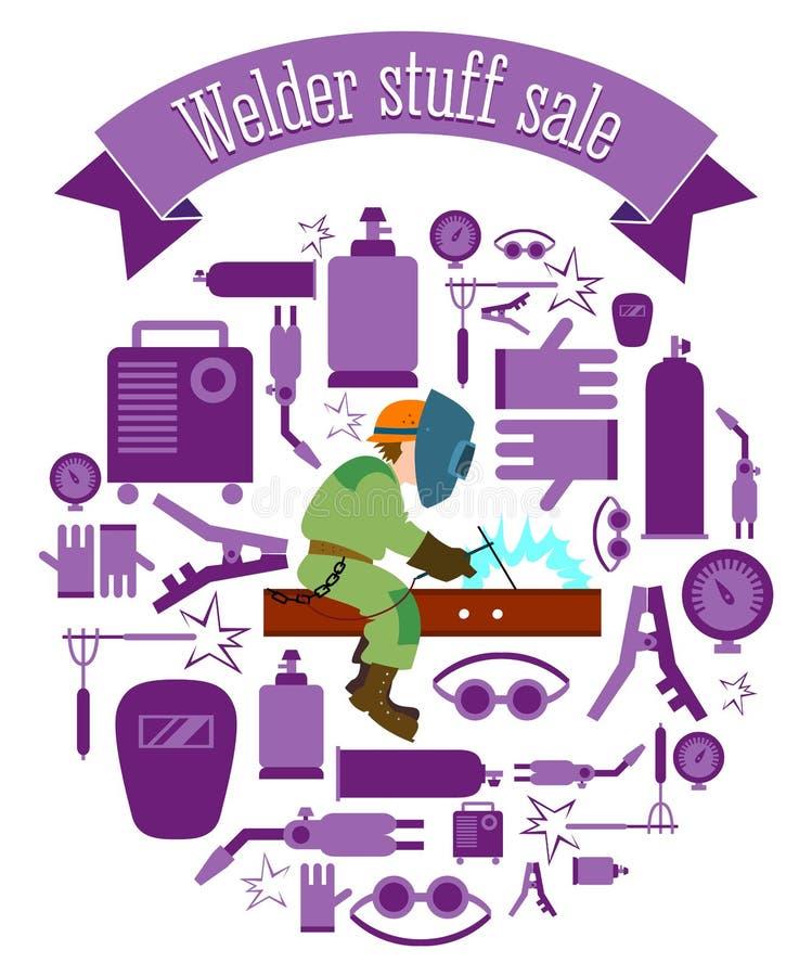 Uppsättning för Weldermaterialförsäljning vektor illustrationer