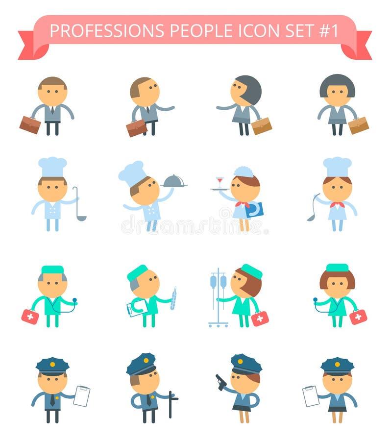 Uppsättning 1 för yrkefolksymbol stock illustrationer