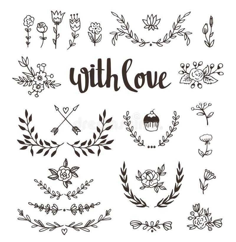 Uppsättning isolerade hand drog designbeståndsdelar med stilfull bokstäver med förälskelse Bröllop förbindelse, sparar datumet, V royaltyfri illustrationer