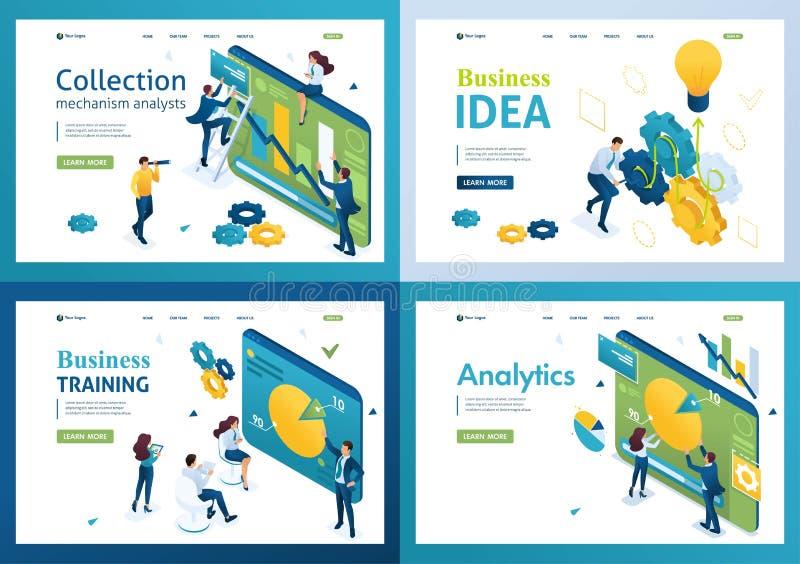 Uppsättning isometriska begrepp diagram och diagram, affärsidéer, analys, företagsutbildning För landningssidans koncept och webb royaltyfri illustrationer