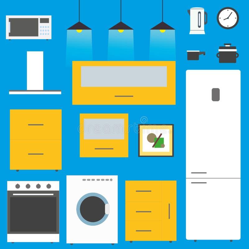 Uppsättning - kökmöblemang, redskap och apparater vektor illustrationer