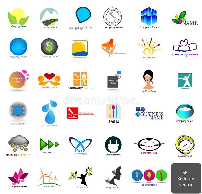 Uppsättning - logoer stock illustrationer