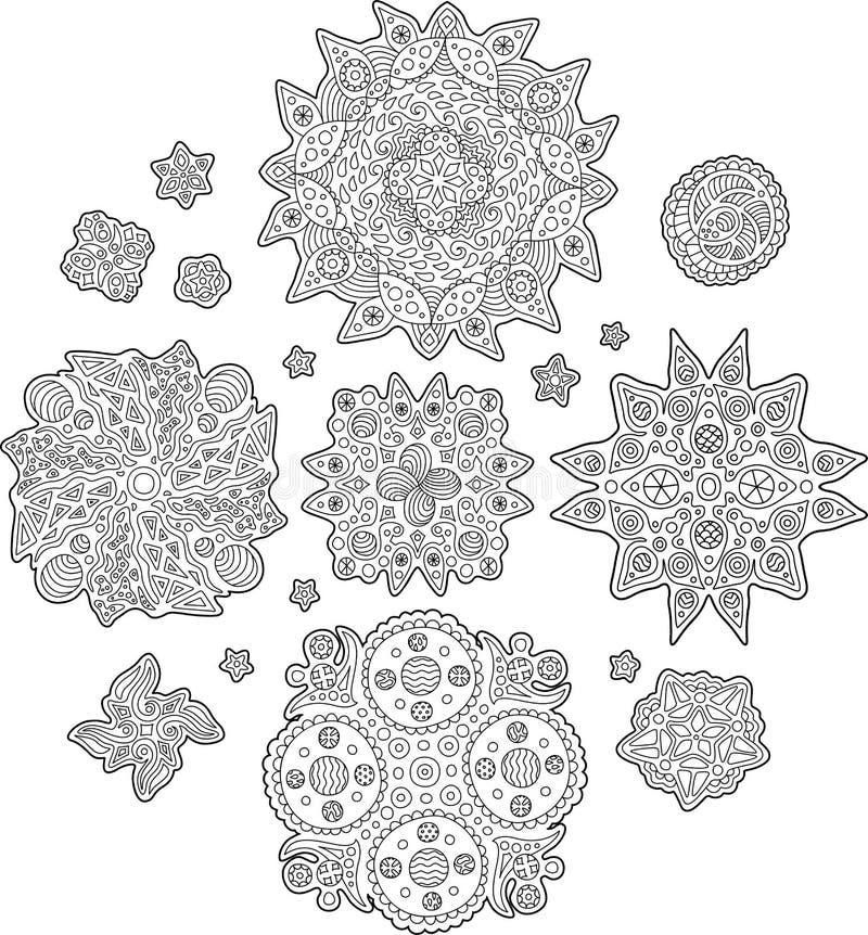 Uppsättning med abstrakta beståndsdelar för sidor för färgläggningbok vektor illustrationer