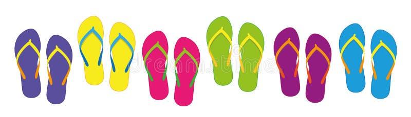 Uppsättning med färgrika sommarflipmisslyckanden för olika färger för strandferie royaltyfri illustrationer