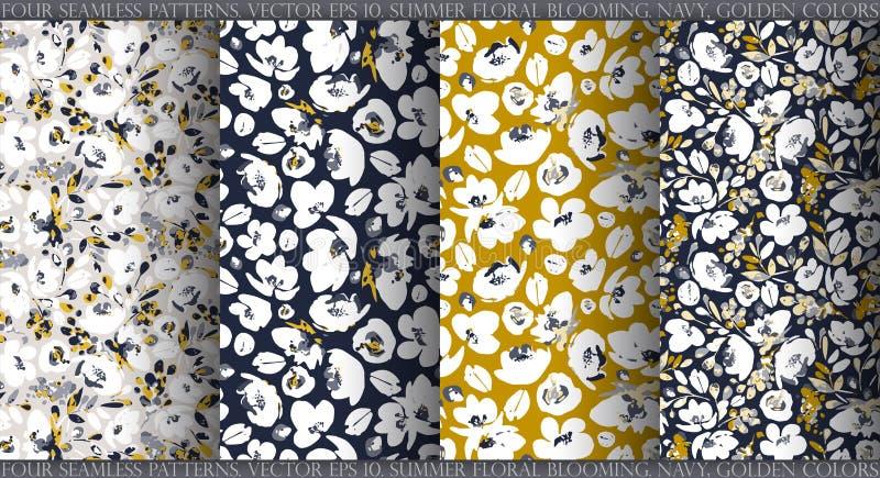 Uppsättning med fyra sömlösa modeller för vektor, abstrakta försiktiga vita blommor på mörkt - blå försiktig grå och senapsgult b stock illustrationer