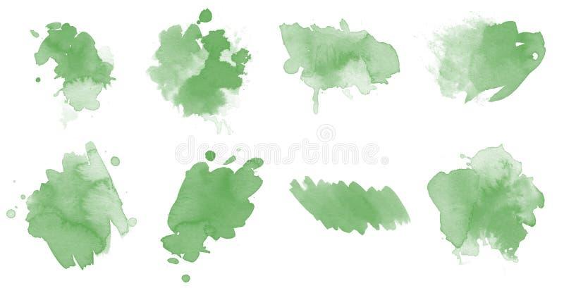 Uppsättning med 8 gröna vattenfärgsblock, prickar och utstrykningspenslar för målning royaltyfria foton