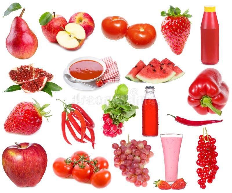 Uppsättning med röd mat och drinkar royaltyfri foto