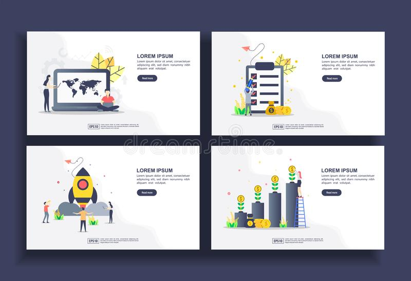 Uppsättning moderna standardmallar för företag, seo, administration, ekonomi, start, investeringar Lätt att redigera och anpassa royaltyfri illustrationer